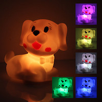 Wholesale Creative gift Cool Dog Shaped Colorful LED Night Light Nightlight lamp Lights