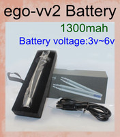 1300mAh Adjustable 1300mah electronic cigarette ego vv2 mega ego lcd USB battery with micro usb charger ego V2 variable voltage ego V V2 battery LCD battery DC014
