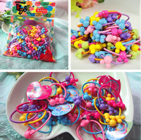 Plastic bands elastics hairbands - 300pcs Korea Colorful Plastic Elastics children s Kids candy color rubber band baby Girl Hair accessories headdress