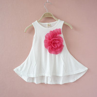 Wholesale Many Colors Summer Baby Girls Clothing Fashion Dresses Children Girls Big Flower Cotton Dress Princess Korean Sleeveless Kids Dresses