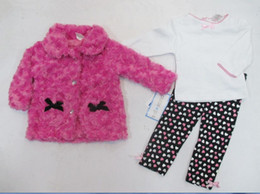 2015 winter baby girls suits kids children sets coat+ t shirt+ pants outfits 3 pc set girls clothes #3503