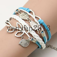 Wholesale Mixed style cross Infinity Anchor owl Branch love Bracelet bird believe faith courage Braided Leather Charm Bracelets December Shengpi Sheng