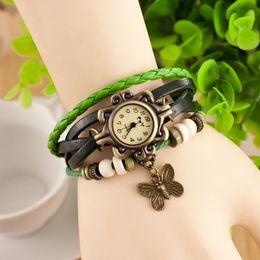 Wholesale High Quality Womenn Genuine Leather Vine Watch Leaf Pendant bracelet Wrist watche CPA Free