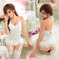 Wholesale Details about Sexy New White Satin Lingerie garter Belt G String Babydoll Dress