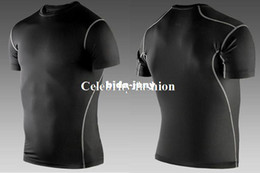 Wholesale-Men Fitness Sport Compression Base Layers Under Tops Shirts Thermal Tees Top High Flexibility Skins Gear Wear Sport Vest S-XXL