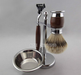 Wholesale Shaving Set for Man Silvertip Badger Hair Brush Blades Razor Stainless Stand With A Bowl