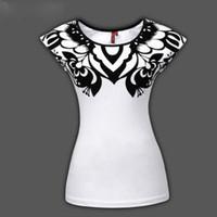 Wholesale National style Appliques paper cut art black heart quot A quot cotton women s t shirt short sleeve Size S XXXL DWJD02