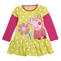 Wholesale Green white Nova m y baby girls polka dot dress peppa pig cupcake dress cotton long sleeve t shirt dress spring autumn girls tops