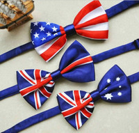 american flag ties - 2015 new fashion men bow tie American Flag necktie USA Union Jack British flag bowtie Australian neck tie