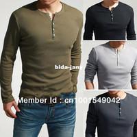 Wholesale ool Men Man s Long Sleeve Henley Slim T Shirt TEE Dexter Kill Army Green Black k