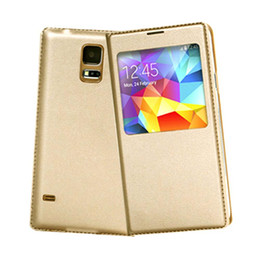 Wholesale S5Q Smart Sleep View Window Leather Cover Case For Samsung Galaxy S5 S V i9600 AAADHO