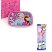 Metal ECO Friendly Dinnerware Sets NEW Hot sale! High-quality FROZEN princess Stainless steel Dinnerware Sets lunch box + spoon+fork kids best gift