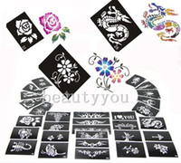 airbrush designs - NEW Mixed Design Sheets Stencils for Body Painting Glitter Temporary Tattoo Kit