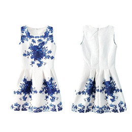 Wholesale S5Q Women Lady Sleeveless Chinese White And Blue Porcelain Floral Printed Dress AAADGR