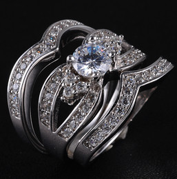 EXCLUSIVE Women's 925 Silver Filled White Sapphire Crystal Stone Triple Layer Ring Set Size 6-9