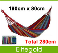 Wholesale Portable Travel Outdoor Camping Hammock Colors Cotton Rope Swing Fabric Stripes Leisure Folding Canvas Bed