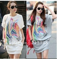 Wholesale jumpsuits Womens Loose Colorful Zebra Round Neck Short Sleeve Shirt Dress Skirt