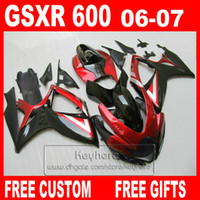 Wholesale Injection molding plastic fairing kit for SUZUKI GSXR600 K6 GSXR GSX R600 red black fairings bodywork set gg35 gifts