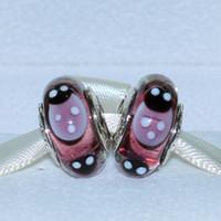 Cheap 5pcs 925 ALE Sterling Silver Screw Purple Ladybugs Murano Glass Bead Fits European Pandora Jewelry Charm Bracelet Necklaces & Pendants DH065