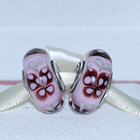 Wholesale 5pcs ALE Sterling Silver Pink Butterfly Kisses Murano Glass Bead Fits European Pandora Jewelry Charm Bracelets Necklaces amp Pendants H271
