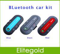 Wholesale 2014 New Handsfree Bluetooth Car Kit Wireless Stereo Speaker Phone for Mobile Phones With Car Charger Retail Box