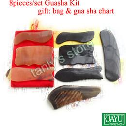 8pcs set Traditional Acupuncture Massage tool Guasha kit 100% yellow ox horn & buffalo horn gift beauty bag & gua sha chart