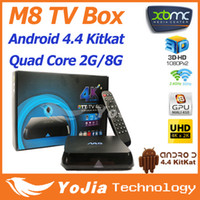 Quad Core Included 2096x2304 & 3840x2160 Ultra HD 1pc M8 Amlogic S802 Quad Core Android 4.4 kitkat OS Smart TV Box Dual Wifi 2G RAM 8G ROM Bluetooth 4.0 XBMC Media Player Free Shipping