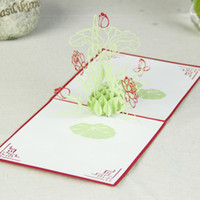 Birthday PCLD088  Marvelous Lotus Handmade Creative Kirigami & Origami 3D Pop UP Greeting & Gift Cards Free Shipping (set of 10)