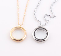 Wholesale Round Magnetic Floating Locket Necklace Glass Floating Charm Memory Locket Pendant Chain Necklace ZN84