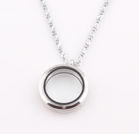 Wholesale Floating Locket Necklace Origami Owl Living Glass Floating Charm Memory Locket Pendant Chain Necklace ZN84