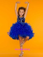 Wholesale Cute and sassy cupcake sequined ruffled royal girl s pageant dresses white beaded stones flower appliqués bodice short mini girl party dress