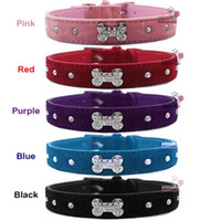 Wholesale Fashion Colors Bling Rhinestones Bone Charm Dog Pet Collar Leash Pet Products