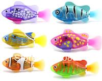 achat en gros de fish toy-Livraison gratuite 8 couleurs LED Novel Robofish électrique Toy Robo Poisson, Emulational Robot poisson, animaux électroniques