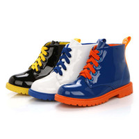 Wholesale New Spring Autumn Child Kid Boy Girl Fashion PU Glossy Bright Color Patchwork Zip Boots Hot Sale XTX021
