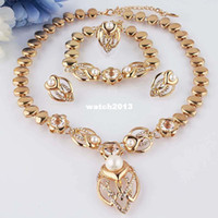 Bracelet,Earrings & Necklace Women's Engagement Wholesale-Free shipping environmental Austrian Crystal Women pearl 14K Gold Filled bracelet necklace earrings ring jewelry set Gift