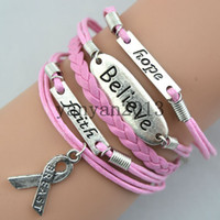Wholesale hope faith believe breast cancer personalized retro fashion personality charm bracelet hand woven leather bracelet