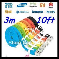 Yes HTC,Samsung,Motorola,Toshiba,Panasonic,B USB 200pcs lot Noodle Flat Micro V8 USB Cable 3m for Samsung Galaxy S3 S2 S4 SII Note 2 HTC Motorola y,Free DHL Fedex