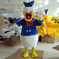Wholesale Donald Duck Mascot Costume Real Image Halloween Party Fancy Dress Complete Outfits Adult Clothing