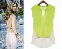 Cotton Women Animal 2014 Summer Women Hollow Out Blouses Shirts Sleeveless Chiffon Vest Tank Tops, Black, Apricot, Fluorescent Green, 5 Size S - XXL
