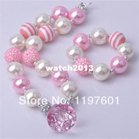 Party baby bracelets for girls - Luck new design kid pink jewelry set bubblegum girls chunky necklace set for little babies