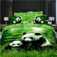 100% Cotton Adult Yes Panda green color 4pcs bedding set 3d bedspread Cotton bed sheets Linens queen king Full size with pillow shams bedcover sets