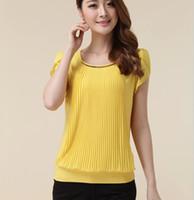 Wholesale Korean Summer New Women Loose Big Yards Temperament Lotus Sleeve Tops Solid Yellow Green Chiffon Lady Blouse XL Ewsd4689