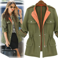 Jackets Women Linen 2014 Autumn Women Military Army Green Solid Trench Drawstring Elastic Waist Foldable Long