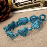 Encantos do coração Italian Style malha Lace Popular de Mulheres Pulseira Pulseira Favorita multi cores