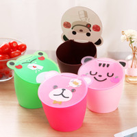 Wholesale Creative home home easily bear the desktop trash can lid playful cartoon mini storage barrels K2299 matter