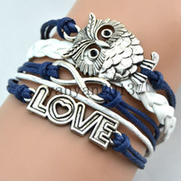 Wholesale Vintage owl jewelry infinite infinite love trinkets hand woven multi layer fashion new personalized leather bracelet charm