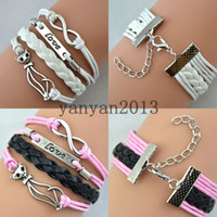 Wholesale antique silver cat love infinity infinite alphabetical braided leather cord hand braided leather bracelets personalized charm