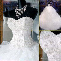 bling wedding dress - 2015 New Bling Wedding Dresses With Sweetheart Crystals Beads Backless A Line Chapel Train Organza Hot Customed Elegant White Bridal Gowns