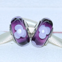 Glass Flowers White 5pcs 925 ALE Sterling Silver Screw Purple Flowers for You Murano Glass Bead Fits European Pandora Jewelry Charm Bracelets & Necklaces DH070