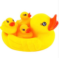 Wholesale Yellow Rubber Duck Baby Bath Toy Set Squeeze Squeaky Floating Ducky Children Toys Swiming Gifts BB183